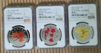 2001 2004 2006 CANADA $1 3 COIN SET - MAPLE LEAVES AUTUMN WINTER SILVER NGC MS68