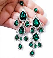 Chandelier Earrings Rhinestone Crystal 3.8 in Green