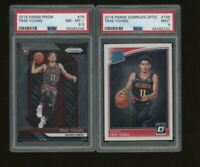 Lot of (2) 2018-19 Panini Prizm Donruss Optic Trae Young RC Rookie PSA Graded