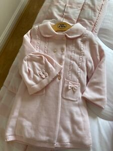 Emile et Rose girls Pink Knitted coat with hat age 23 mnths