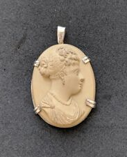 Antique Victorian Lava High Relief Cameo Sterling Silver Pendant