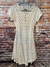 New White Open Knit ELAN dress, swim Dress Cover Women's Size M/L