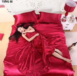Pure Satin Bedding Sets Bed Silk 100% Textile King Comforter sheet pillowcases