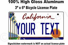 """California Custom Personalized State License Plate -Bicycle 3"""" x 6"""" any text"""