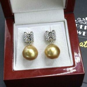GOLDEN! South Sea 12mm Pearls VS Diamonds 18K Solid white Gold Earrings Dangling