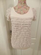 LADIES LIGHT PINK RUFFLE FRILL STRETCHY SHORT SLEEVE TOP SIZE 10 DOROTHY PERKINS