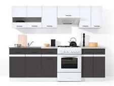 Küche 240cm Schränke, Küchenzeile Weiss glanz - Wolfram grau Neu&Schnell