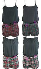 Womens Ladies Strappy Chiffon Overlay Tartan Check Playsuit Jumpsuit Dress