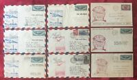 1939 FIRST FLIGHT of TRANS-ATLANTIC CLIPPER COVERS - 9 DIFFERENT