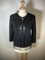 Black Ladies Wool Blend Cardigan Evening Wear Bead and Ribbon Accents Size 14 E1