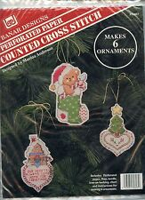 SIX Perforated Paper Ornaments - Bear-House-Tree -  Banar Cross Stitch Kit - NEW