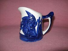"Sleepy Eye Stoneware Creamer 4"" tall Cobalt Blue Indian Teepee Trees"