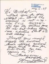 HOUSE PETERS JR Hand Written Signed 8 1/2x11 Letter - Free S/H in the US