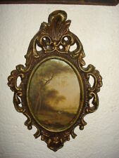 VINTAGE OLD OVAL PLASTIC PHOTO/PICTURE ORNATE FRAME PICTURE PRINT ON TEXTILE