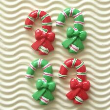 "US SELLER 10 x (1 3/8"") Resin Candy Cane w/Bow Flatback Bead for Christmas SB444"