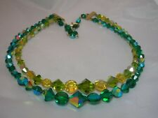 Vintage Unique Blue Green Amber Crystal 2 Strand Necklace