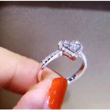 1Ct Heart Shape Diamond Wedding Engagement Ring Real 14k White Gold Over ED