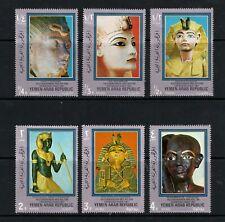 YEMEN ARAB REPUBLIC – 1970 Egypt/King Tut, MNH-VF - Michel 1040-45