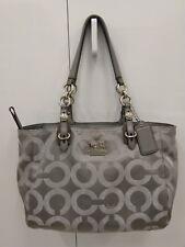 *Coach Gray Silver Mia Op Art Lurex/Leather & Sateen Signature Metallic Tote Bag