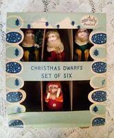 Vintage Shiny-Brite Xmas Dwarfs Set of 4 #8651 Pinecone Chenille In Original Box
