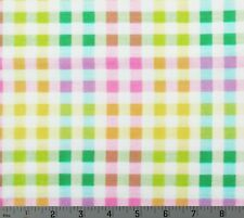 White Pink Green Yellow Purple Plaid Cotton Quilting Fabric By The Yard