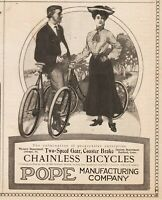 1904 Pope Manufacturing Hartford CT Chicago Coaster Brake Chainless Bicycle ad