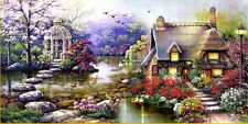 "New Stamped Cross Stitch Kit ""House in the garden"" 21.5""x43"" printed design"