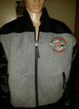 Harley Davidson university jacket RARE BLACK AND GRAY SZ LG made in AMERICA .