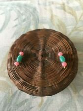 """""""ANTIQUE"""" HEIRLOOM. Chinese Sewing Basket. Pink and Green Beads."""