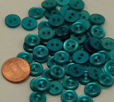 Lot of 24 Small Pearlized Teal Blue Plastic Buttons 7/16