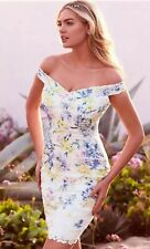 Bnwt🌺LIPSY🌺Size 12 White Penelope Floral Printed Lace Bardot Dress Multi New