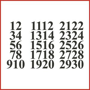 Sticky Back Vinyl Numbers 1-30 Times Bold 10/15/20/30/40/50mm doors sign lockers