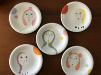 MID CENTURY MODERN GEOMETRIC ABSTRACT SIGNED HAND PAINTED POTTERY LADY PLATE 5PC