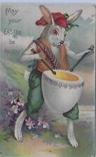 undivided back Easter Pc,embossed, Anthropomorphic Rabbit beating Hb Egg Drum
