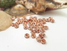 Lady-Muck3:10x ROSE GOLD RHINESTONE CRYSTAL SPACER BEADS, 6mm