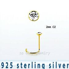 22G 2mm Piatto Cz 18K Placcato Oro .925 Argento Sterling Naso Vite Anello Lobo