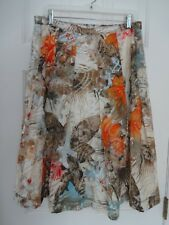 COLDWATER CREEK Womens PL Orange Brown Floral Waistband Flare Lined Skirt NWOT
