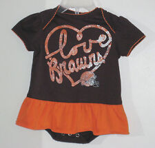 NFL Size 3-6 Months Girls Brown I Love Browns Short Sleeve Bodysuit Romper