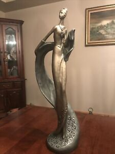 "AUSTIN PRODUCTIONS 1987 LeCLERC GOLD AND SILVER WOMAN LARGE 28"" TALL -  SCARCE!"