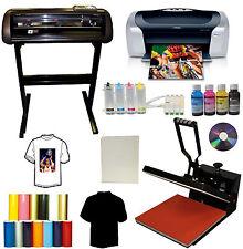 "15x15 Heat Transfer Press,24"" Metal Vinyl Cutter Plotter,Printer+CISS+Ink,Tshirt"