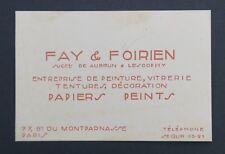 Carte de visite FAY & FOIRIEN AUBRUN Papiers peints PARIS old visit card