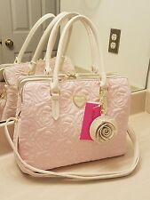 Betsey Johnson Quilted Rose Satchel Handbag Purse Cream Pink Bone Blush NWT
