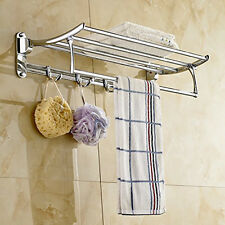 Wall Mount Towel Rail Rack Tower Bar Bathroom Hotel Holder Storage Shelf Chrome