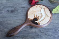 Dolphin Hand Mirror, Hand held Mirror, Flower Mirror, Wooden hand mirror