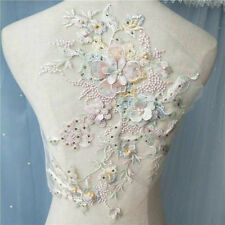 1 Pc 3D Flowers Pearl Beaded Sequins Lace Applique Patch Wedding Dress Costume