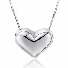 Heart Charm Pendant 925 Sterling Silver Necklace Womens Girls Jewellery Gift New