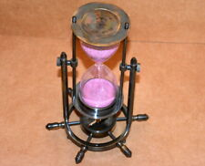 """Nautical brass sand timer 8"""" antique maritime hourglass with wheel compass base"""
