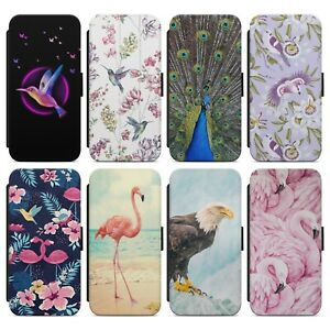 Flamingo Humming Bird Exotic Birds WALLET FLIP PHONE CASE COVER FOR IPHONE