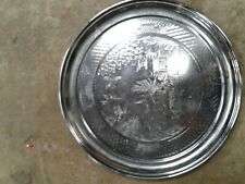 LARGE ROUND METAL SILVER COLOURED TRAY WITH DESIGN