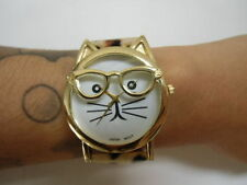 Montre fantaisie tête chat kitty hipster bracelet leopard simili cuir originale
